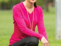 Ladies Long Sleeve V-neck, Dry-fit.